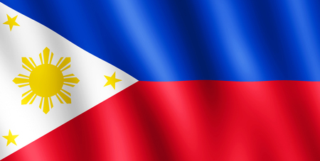 undulating: Flag of Philippines waving in the wind giving an undulating texture of folds in the fabric. Stock Photo