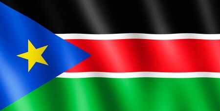 south sudan: Flag of South Sudan waving in the wind giving an undulating texture of folds in the fabric. Stock Photo