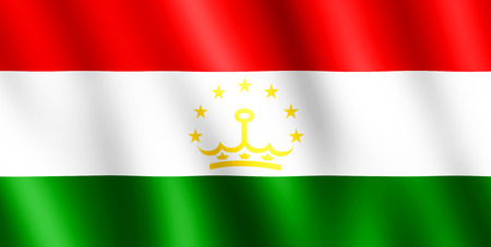 undulating: Flag of Tajikistan waving in the wind giving an undulating texture of folds in the fabric. Stock Photo