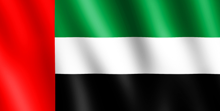 undulating: Flag of United Arab Emirates waving in the wind giving an undulating texture of folds in the fabric.