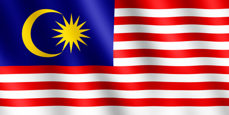 undulating: Flag of Malaysia waving in the wind giving an undulating texture of folds in the fabric.