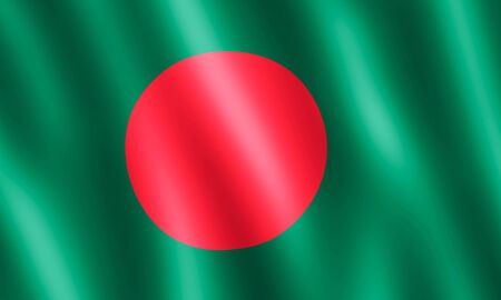 undulating: Flag of Bangladesh waving in the wind giving an undulating texture of folds in the fabric. The Image is in the official ratio of the flag - 3:5.