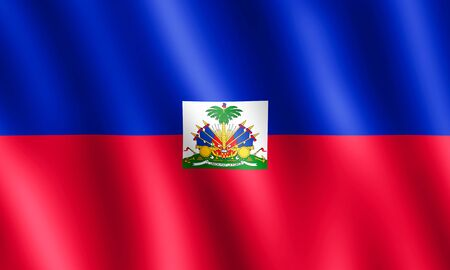 port au prince: Flag of Haiti waving in the wind giving an undulating texture of folds in the fabric. The Image is in the official ratio of the flag - 3:5.