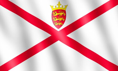bailiwick: Flag of Bailiwick of Jersey waving in the wind giving an undulating texture of folds in the fabric. The Image is in the official ratio of the flag - 3:5.