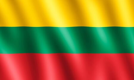 undulating: Flag of Lithuania waving in the wind giving an undulating texture of folds in the fabric. The Image is in the official ratio of the flag - 3:5. Stock Photo