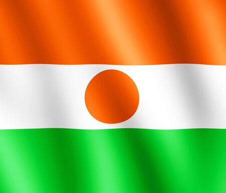white colour: Flag of Niger waving in the wind giving an undulating texture of folds in the fabric. The Image is in the official ratio of the flag - 6:7. Stock Photo