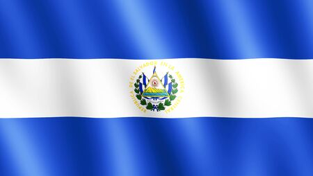 undulating: Flag of El Salvador waving in the wind giving an undulating texture of folds in the fabric. The Image is in the official ratio of the flag - 189:335.