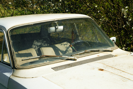 coachwork: Close up of old dirty white empty automobile with rush marks on hood parked in weeds outdoors.