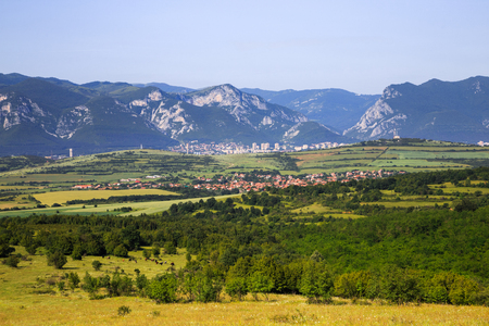 Panoramic view to the town of Vratsa and Balkan Mountains in the background (Vratsa Balkan Mountains), Bulgaria Stock Photo