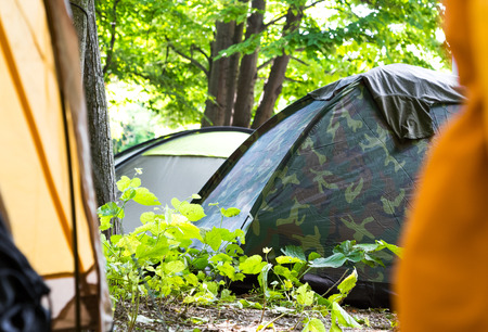 view through door: View through an open tent door of a campsite under leafy green trees with other closed tents visible pitched in the shade in a concept of adventure and a healthy active lifestyle
