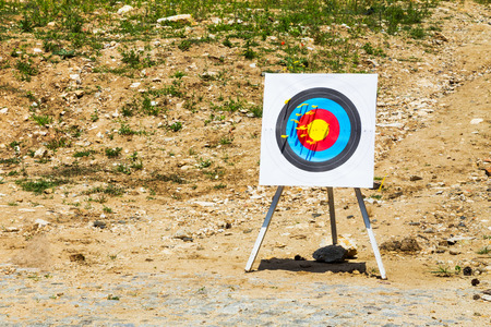 crossbow: Outdoor target with yellow bolts fired from a crossbow on a rural shooting range