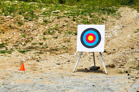 teambuilding: Outdoor empty portable target on a rural shooting range