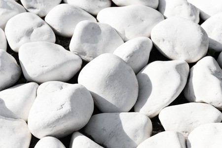weatherworn: Background texture of smooth white stones or rocks used in landscaping and construction for decoration in a close up full frame view Stock Photo