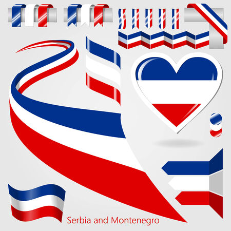 serbia and montenegro: Set of Vector Flag of Serbia and Montenegro. The Proper Colors of The National and State Flag. Collection flags label stickers pointer badge and icon with symbol on design element. Vector illustration isolated background