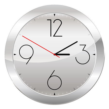gold rush: Analog Clock Isolated on a White Background. Vector Clock with Large Numerals Illustration