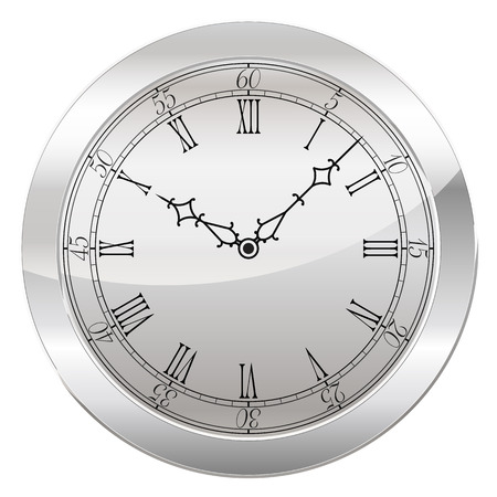 roman numerals: Analog Clock Isolated on a White Background. Vector Clock with Roman Numerals