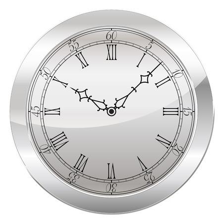 numeros romanos: Reloj analógico aislado en un fondo blanco. Vector de reloj con números romanos Vectores