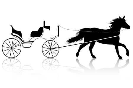 wagon: Horse with Retro Carriage for Wedding. Drawn isolated on White Background