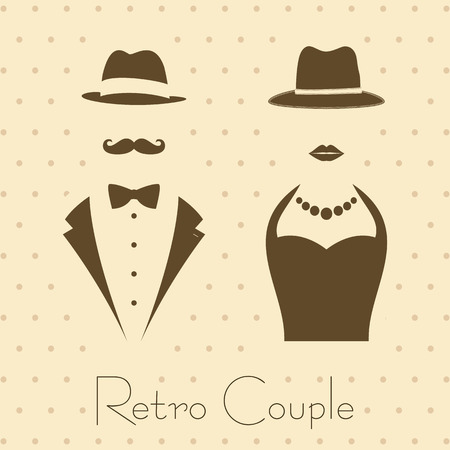 Gentleman and Lady Symbols on Vintage Style Background