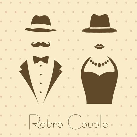 Gentleman en Lady symbolen op Uitstekende Achtergrond Stijl Stock Illustratie