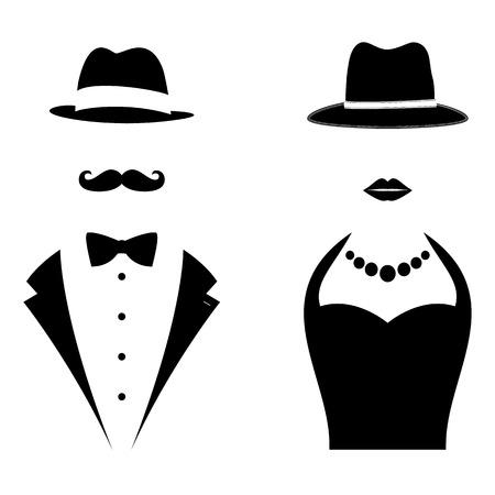 senhora: Símbolos Cavalheiro e senhora. Homem e mulher Cabeça Silhuetas