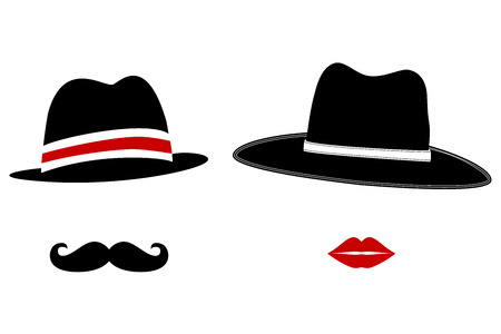 classic woman: Gentleman and Lady Symbols. Man and Woman Head Silhouettes