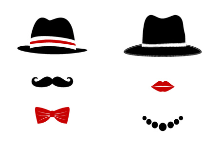 retro man: Gentleman and Lady Symbols. Man and Woman Head Silhouettes