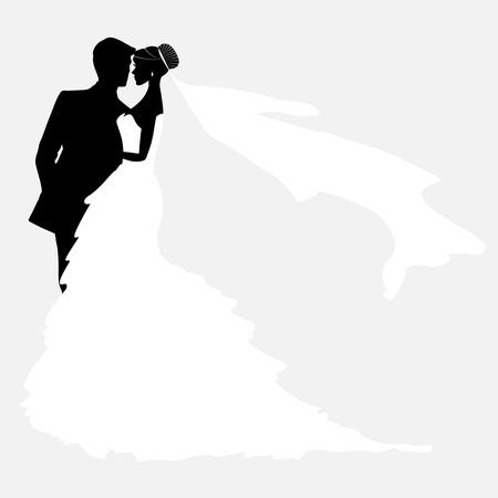 anillo de boda: Novia y novio. Parejas del vector de la silueta por invitaci�n de la boda