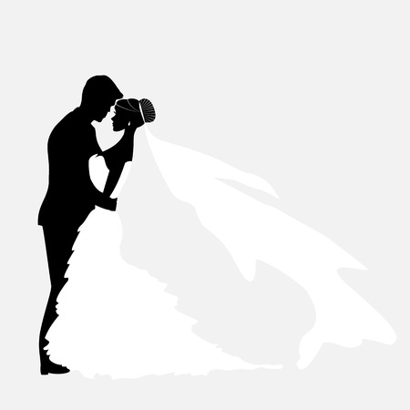 profile silhouette: Bride And Groom. Vector Couples Silhouette for Wedding Invitation Illustration
