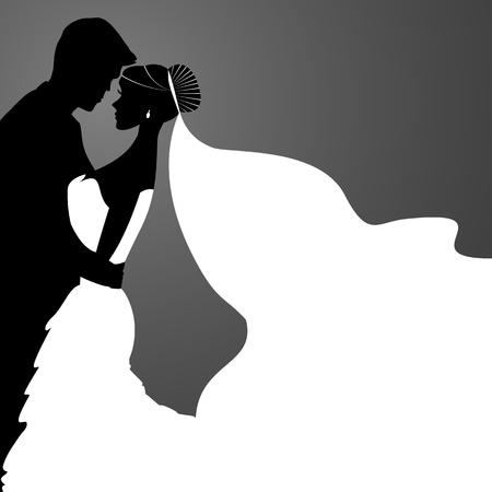 Braut und Bräutigam. Vector Paare Silhouette für Hochzeits-Einladung Standard-Bild - 45724177