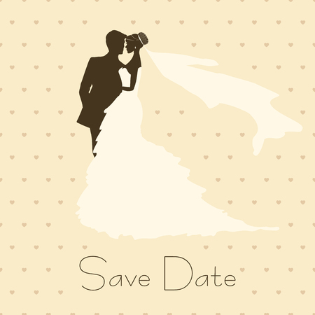 bride and groom illustration: Bride And Groom. Vintage Style Background for Wedding Invitation Illustration