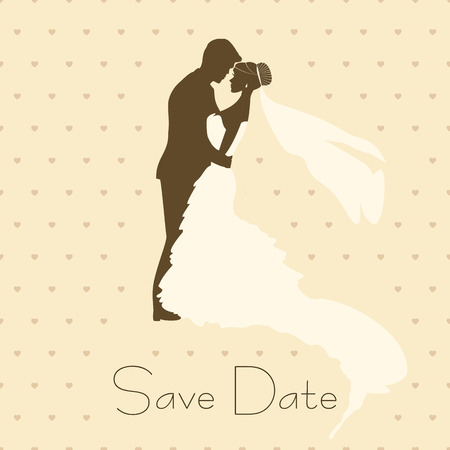 wedding dress silhouette: Bride And Groom. Vintage Style Background for Wedding Invitation Illustration