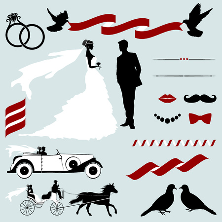 bride and groom background: Set of Vector Design Elements for Wedding Invitations