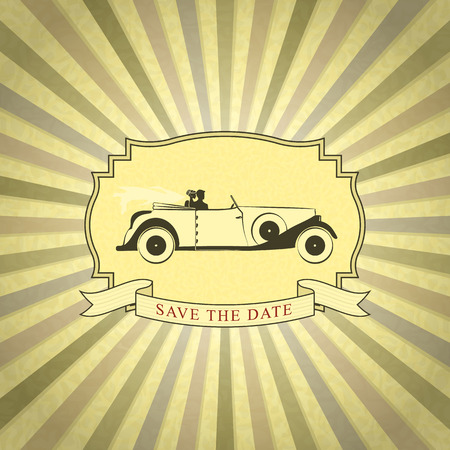 cabrio: Retro Wedding Invitation with Place for Text. Vintage Background with Bride and Groom Driving Vintage Car
