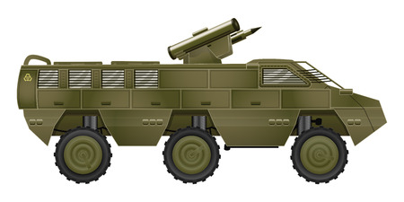 armored: Vector Armored Troop-Carrier or Military SUV Isolated on a White Background Illustration