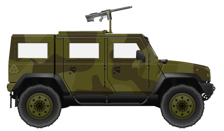 infantry: Vector Military Vehicle with Machine Gun. SUV Isolated on a White Background