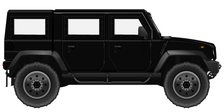 armored: Black SUV Car. Vector Armored Vehicle Isolated on a White Background Illustration