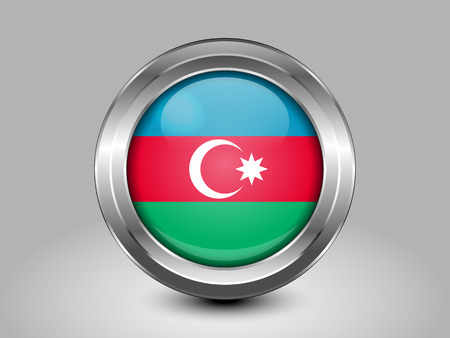 az: Flag of Azerbaijan. Metal Round Icons. This is File from the Collection Asian Flags Illustration