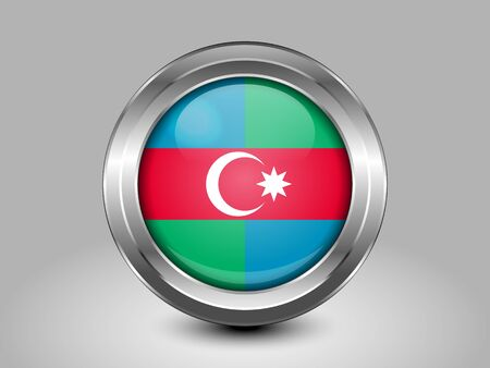 south asian: South Azerbaijan Flag.  Metal Round Icons. This is File from the Collection Asian Flags Illustration