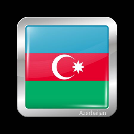 metalic: Flag of Azerbaijan. Metalic Icon Square Shape. This is File from the Collection Flags of Asia