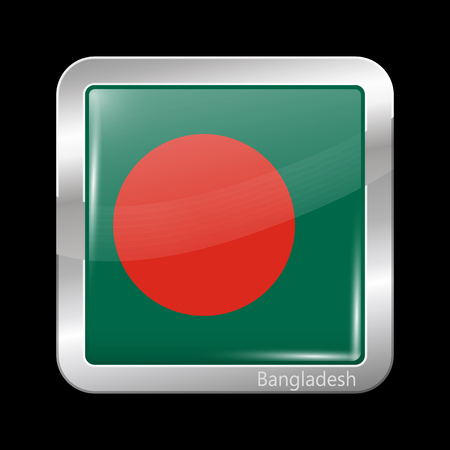 metalic: Flag of Bangladesh. Metalic Icon Square Shape. This is File from the Collection Flags of Asia Illustration