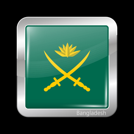 metalic: Bangladesh Army Flag. Metalic Icon Square Shape. This is File from the Collection Flags of Asia Illustration