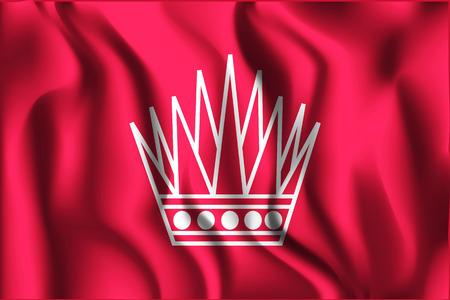 variant: Variant Flag of Bahrain. Rectangular Shape Icon with Wavy Effect