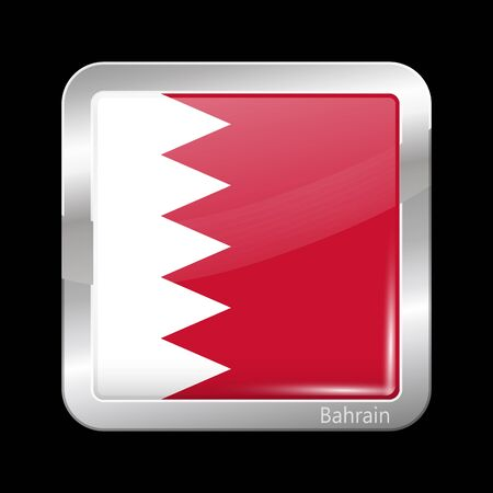 metalic: Flag of Bahrain. Metalic Icon Square Shape. This is File from the Collection Flags of Asia