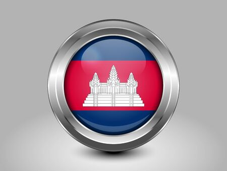 cambodian flag: Flag of Cambodia. Metal Round Icons Illustration