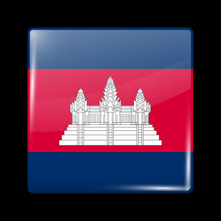 cambodian flag: Flag of Cambodia. Glass Icon Square Shape