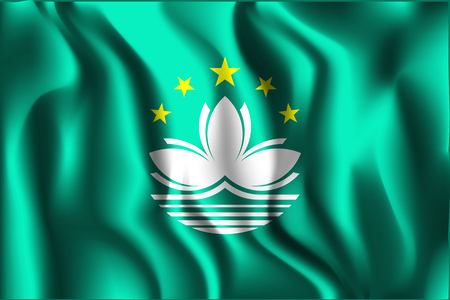 macau: China Flag of Macau. Rectangular Shape Icon with Wavy Effect