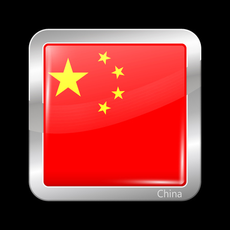metalic: Flag of China. Metalic Icon Square Shape