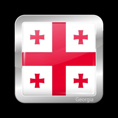 metalic: Flag of Georgia. Metalic Icon Square Shape