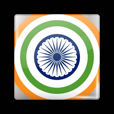 India Variant Flag. Glassy Icon Square Shape. This is File from the Collection Flags of Asia Illustration